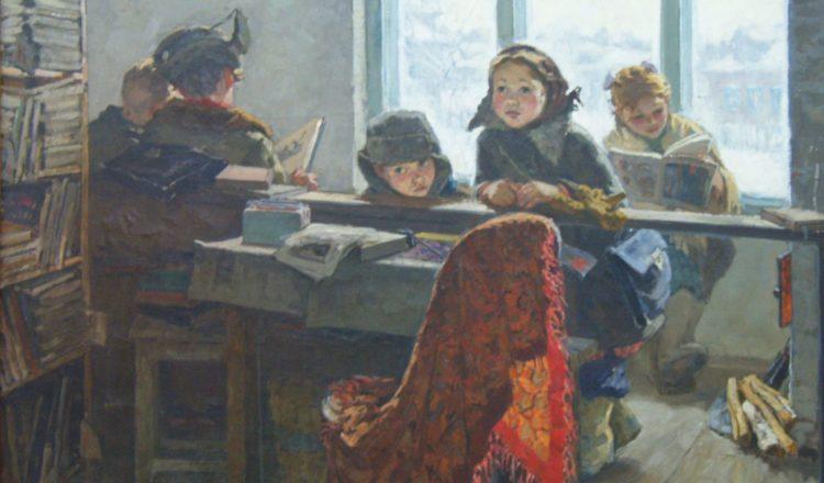 «В сельской библиотеке» Автор Шевандронова Ирина Васильевна. 1959 Холст, масло. 120х155 см