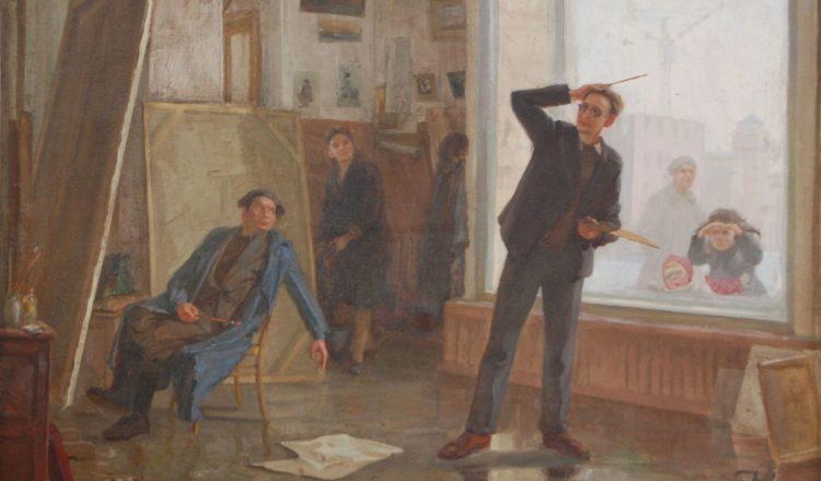 «Первые мастерские» Автор Цивилев Георгий Александрович. 1951 Холст,масло. 71х101 см