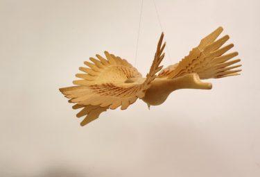 Архангельская игрушка Птица счастья. Дерево, нити, резьба объемная